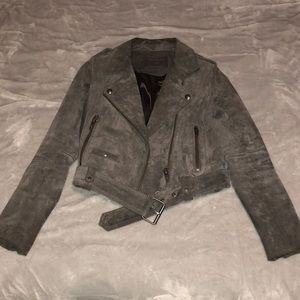 BLANK NYC -  grey suede moto jacket